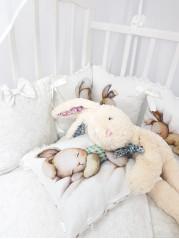 Набор в кроватку Сонный Зайка  Люкс в белом дамаске