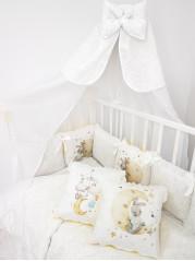 Набор в кроватку Зайка с лестницей на Луну в белом дамаске