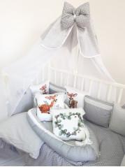 Набор в кроватку из подушечек Бемби Люкс в серых тонах