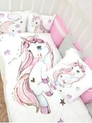 Набор в кроватку из подушечек  Единорожка Люкс