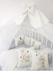 Набор в кроватку Мамина Радость в сером дамаске