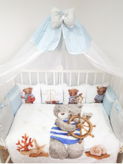 Набор в кроватку из подушечек Мишка со штурвалом Люкс