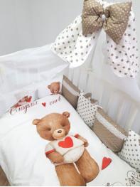 Борт в кроватку из подушечек Мишка с сердцем Люкс