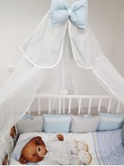 Борт в кроватку из подушечек Мишка в пижаме Люкс