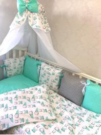 Набор в кроватку из подушечек Мятный Зайка