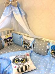 """Набор в кроватку из подушечек """"Енот"""""""
