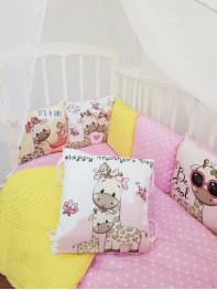 """Набор в кроватку из подушечек """"Жирафик девочка"""""""