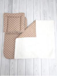 Набор 3х предметный в коляску на овчине , цвет коричневый