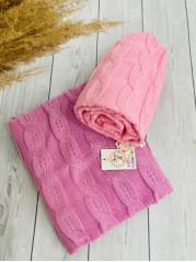 Вязаный плед Косы, в цвете розовый