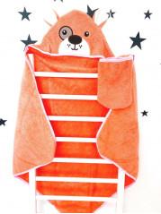 Купальный набор : полотенце + варежка, цвет : оранжевый