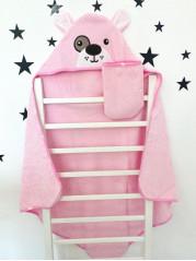 Купальный набор : полотенце + варежка, цвет : розовый