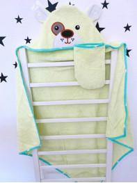 Купальный набор : полотенце + варежка, цвет : салатовый