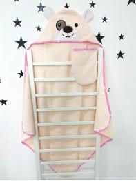 Купальный набор : полотенце + варежка, цвет : нежно розовый