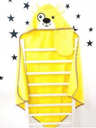 Купальный набор : полотенце + варежка, цвет : желтый