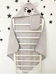 Купальный набор : полотенце + варежка, цвет : серый